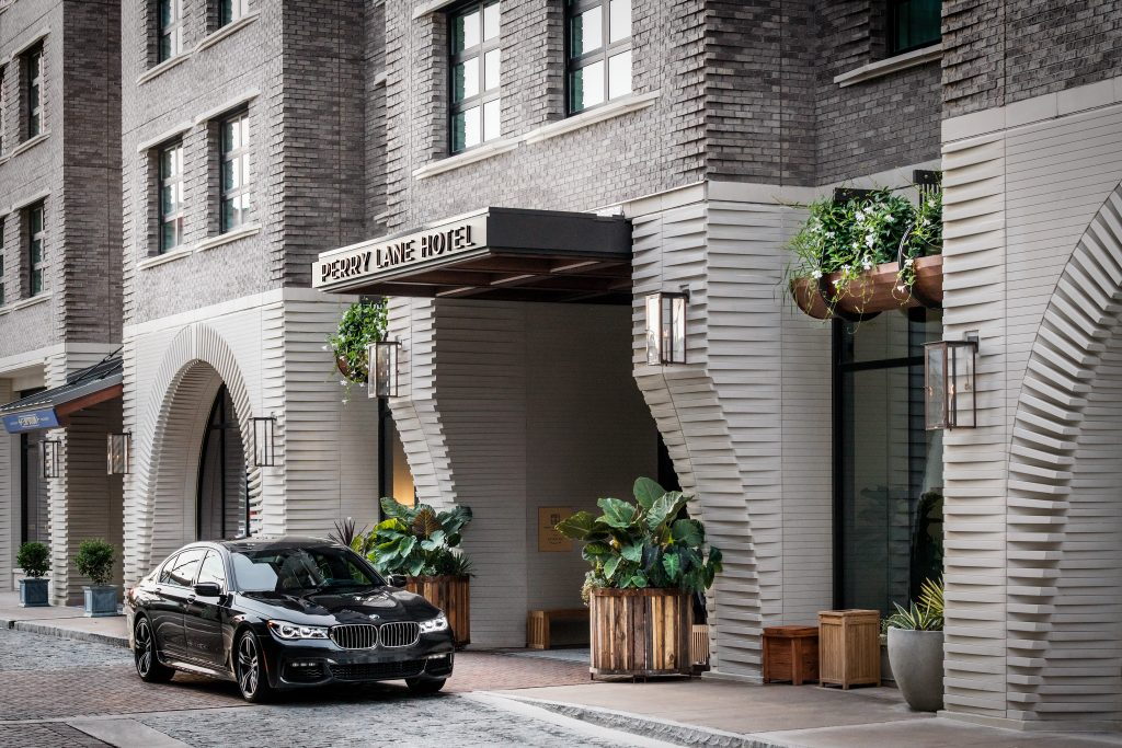Entrance of The Perry Lane, a Luxury Collection Hotel overseen by hospitality operations firm, hotelAVE