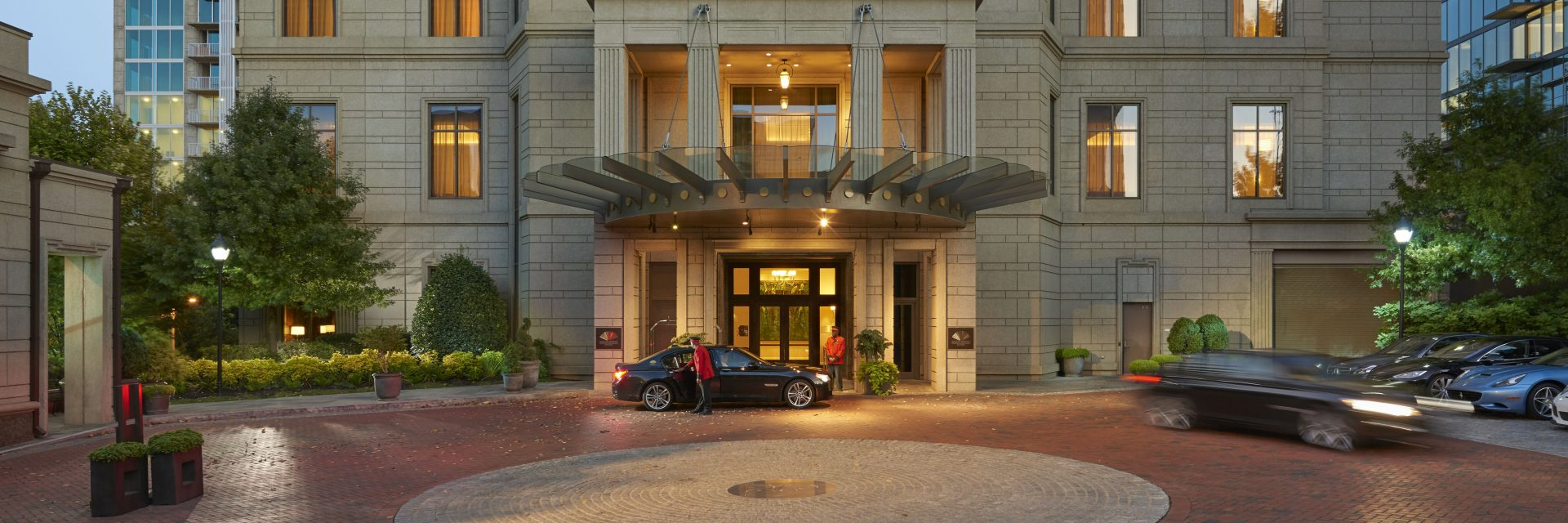 The entrance to a luxury hotel, managed by by hotel asset management company, Hotel Asset Value Enhancement